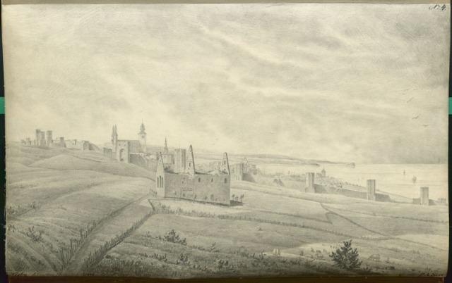 Teckning av Visby sett från norr av Per Arvid Säve